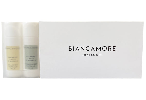 BIANCAMORE TRAVEL KIT 5 BOTTLES: 2 BATH FOAM - 1 SHAMPOO - 1 BODY CREAM AND 1 CONDITIONER