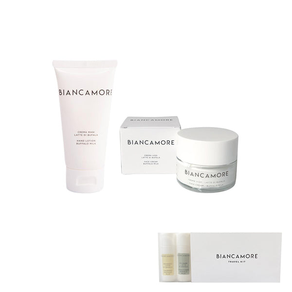 BIANCAMORE SPECIAL KIT: 1 CREMA MANI 50 ML  + 1 CREMA VISO IN VASETTO 50 ML (IN OMAGGIO 1 TRAVEL KIT)