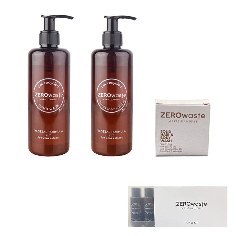 ZEROWASTE SPECIAL KIT: 1 HAND WASH 300 ML  + 1 HAND&BODY LOTION 300 ML + HAIR&BODY SOLIDO 15 GR. (IN OMAGGIO 1 TRAVEL KIT)
