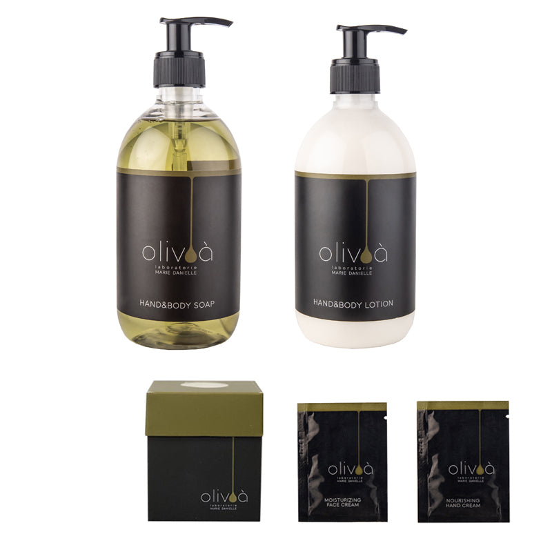 OLIVA' SPECIAL KIT: 1 HAND&BODY SOAP 500 ML  + 1 HAND&BODY LOTION 500 ML (IN OMAGGIO 1 TRAVEL KIT)