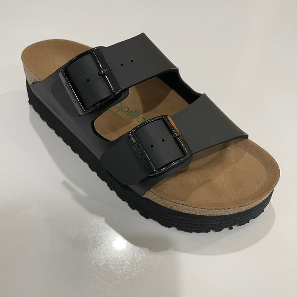 Birkenstock Ladies Arizona Groozed Platform - Black