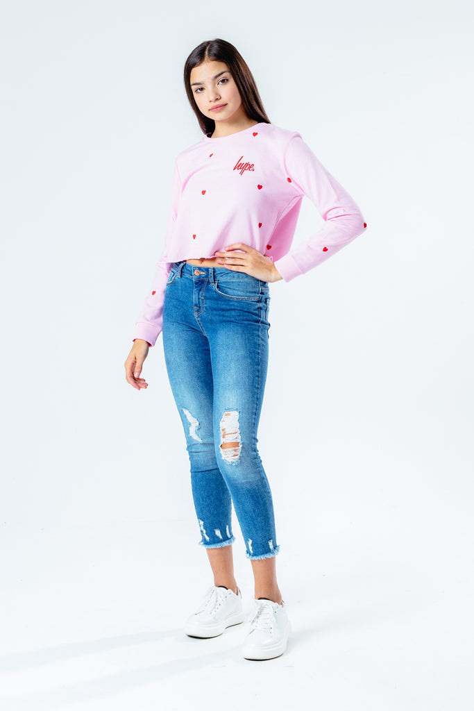 Hype Girls Heart Repeat Cropped Sweatshirt