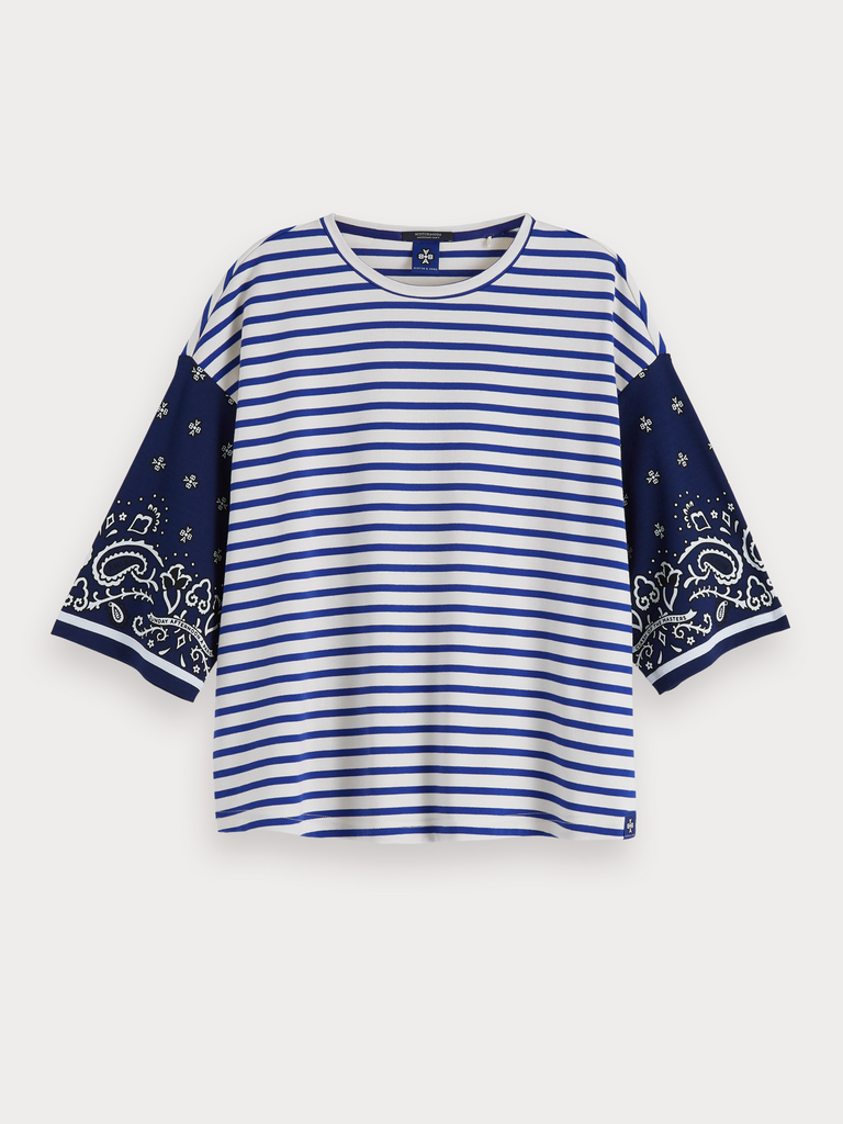 Maison Scotch Oversized Mixed Print T-Shirt