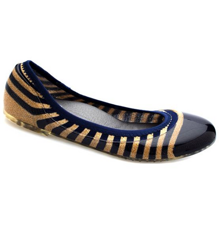 Gold/Navy Rugby Stripe Flats