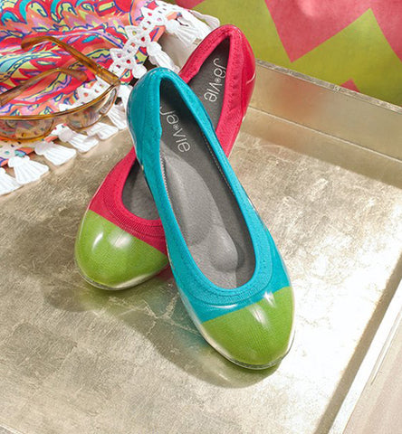 ja-vie parrot green cap/hibiscus jelly flats shoes