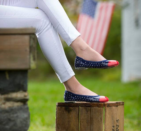 ja-vie navy/white/red dot jelly flats shoes
