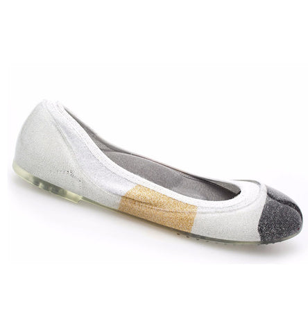 ja-vie metallic colorblock jelly flats shoes