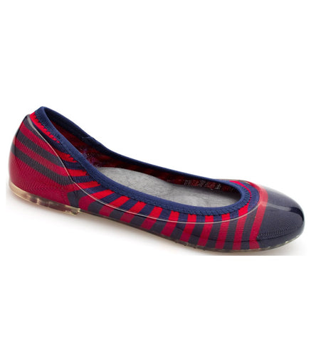 ja-vie navy/red rugby stripe jelly flats shoes