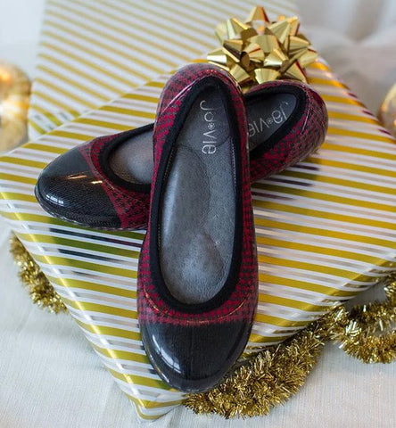 ja-vie red/black houndstooth jelly flats shoes
