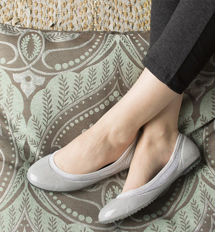 ja-vie silver jelly flats shoes