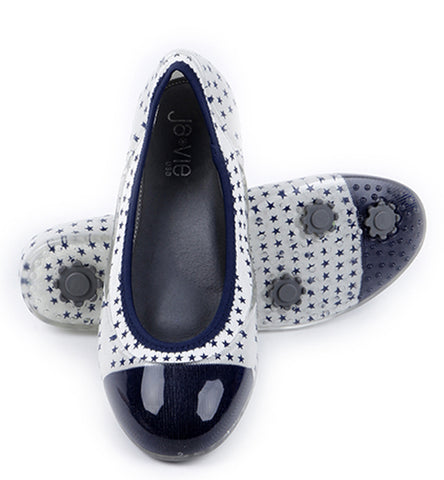 ja-vie Navy Stars Cap toe jelly flats shoes