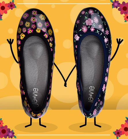 ja-vie baby floral navy jelly flats shoes