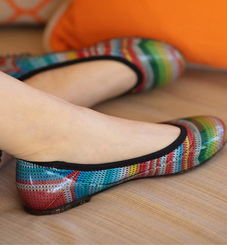 ja-vie Sarape Stripe jelly flats shoes