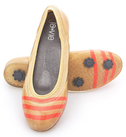 ja-vie sand/coral stripe jelly flats shoes