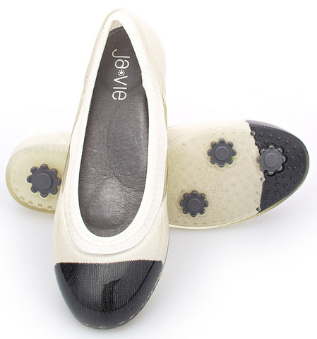 ja-vie black cap/white jelly flats shoes