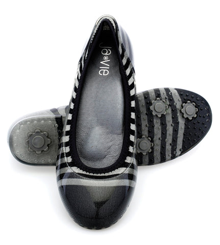 ja-vie charcoal/black rugby stripe jelly flats shoes