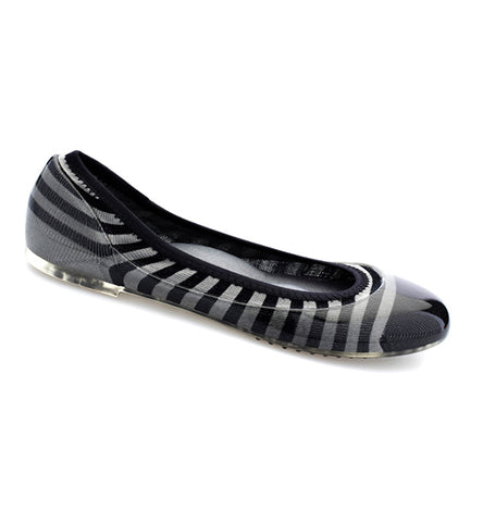 NEW Charcoal/Black Rugby Stripe Flats