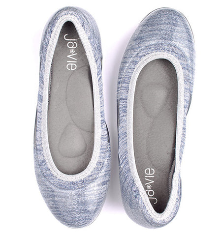 ja-vie shimmering denim silver jelly flats shoes