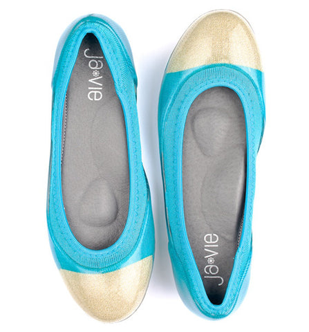 ja-vie bluebird/gold jelly flats shoes