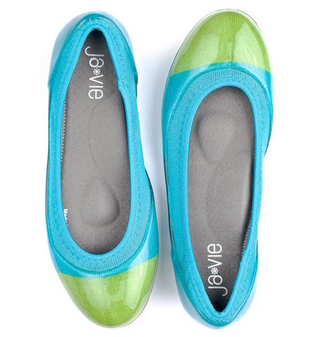 ja-vie bluebird/parrot green jelly flats shoes