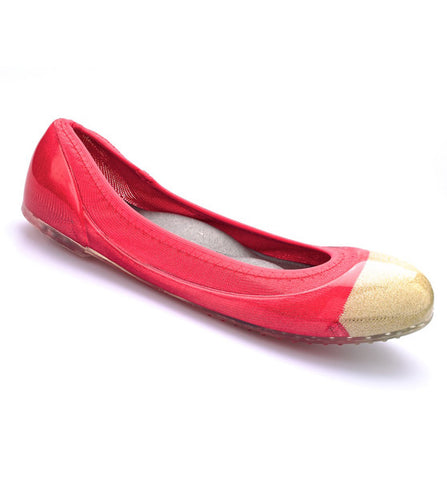 ja-vie gold cap/hibiscus jelly flats shoes