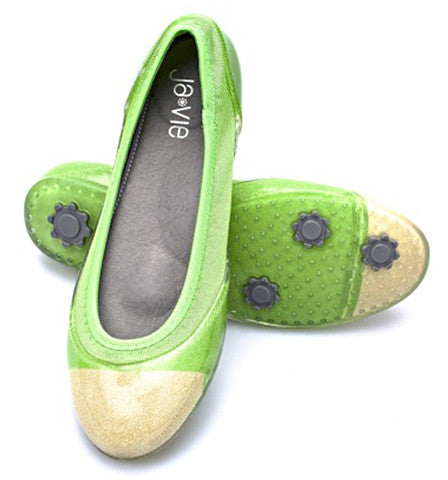 ja-vie parrot green/gold jelly flats shoes