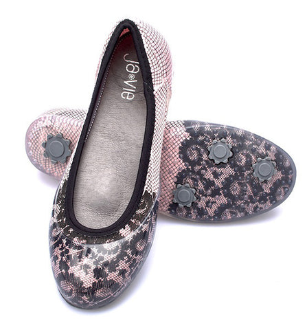 ja-vie pink/black lace jelly flats shoes