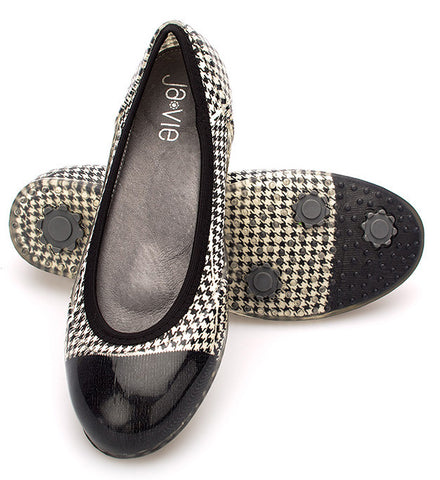 Ivory/Black Houndstooth Flats