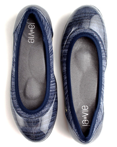 ja-vie indigo stripe jelly flats shoes