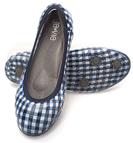 Gingham Navy Flats