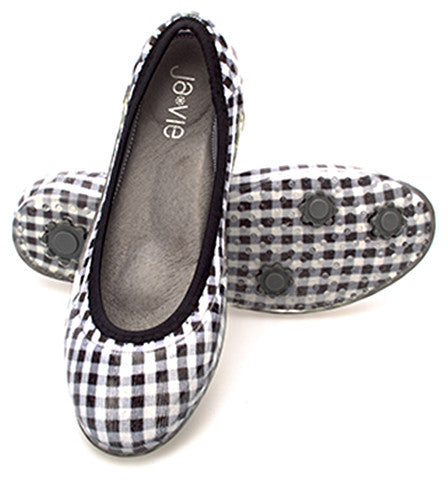 ja-vie black gingham jelly flats shoes