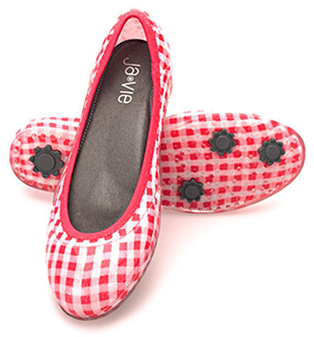 ja-vie hibiscus gingham jelly flats shoes