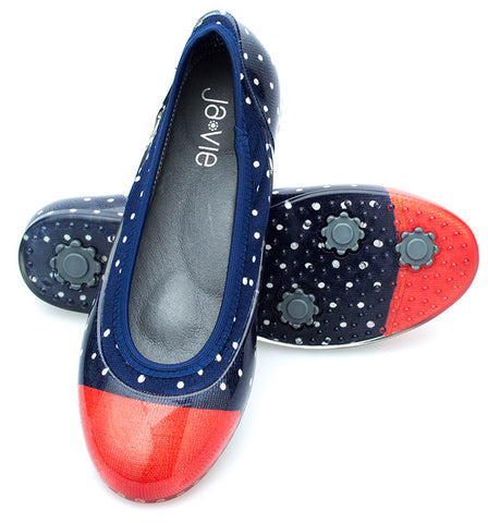 Navy/White/Red Dot Flats