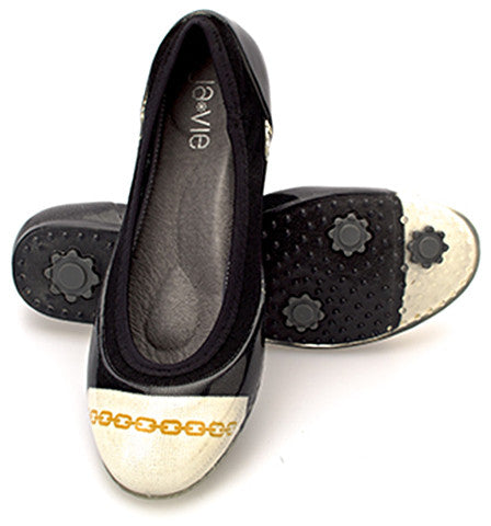 ja-vie chain black/white jelly flats shoes