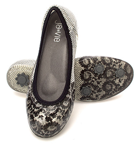 ja-vie black lace/white jelly flats shoes