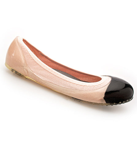 ja-vie black cap/shell pink jelly flats shoes