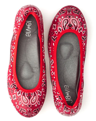 ja-vie red bandana jelly flats shoes