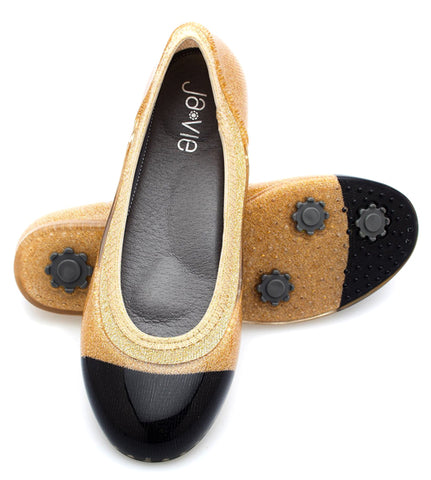 ja-vie black cap/gold jelly flats shoes