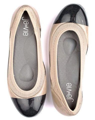 ja-vie  black cap/nude beige jelly flats shoes