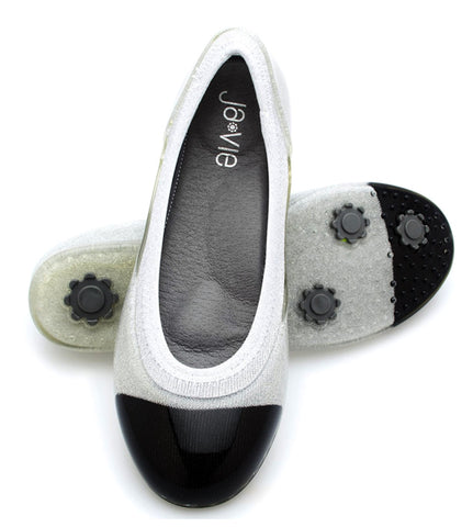 ja-vie black cap/silver jelly flats shoes