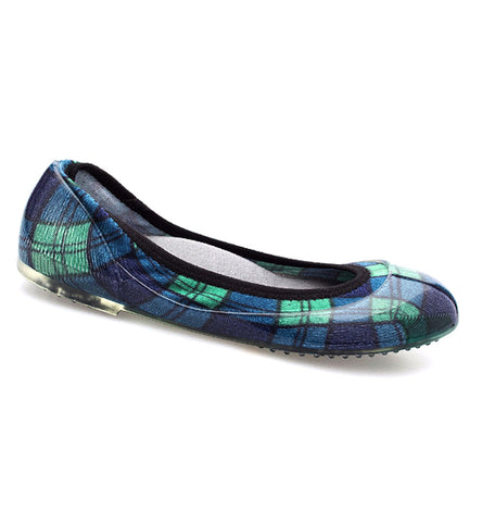 ja-vie blue/green plaid jelly flats shoes
