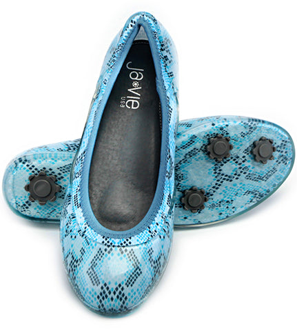 ja-vie snakeskin print blue jelly flats shoes