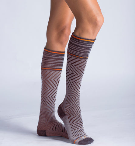 ja-vie Compression Socks Merino Medium Moderate Graduated Zig-Zag , Brown (15-20mmHG)