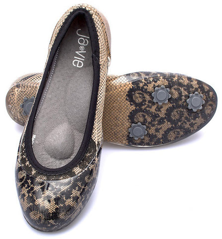 Camel/Black Lace Flats
