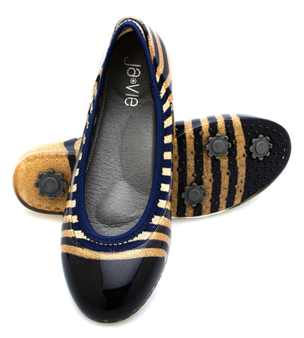 ja-vie gold cap/navy rugby stripe jelly flats shoes