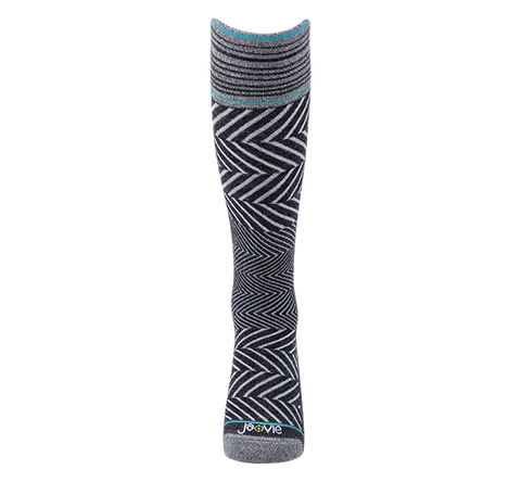 ja-vie 76% Merino Wool Graduated Compression Socks, Zig-Zag, Black (15-20mmHg)