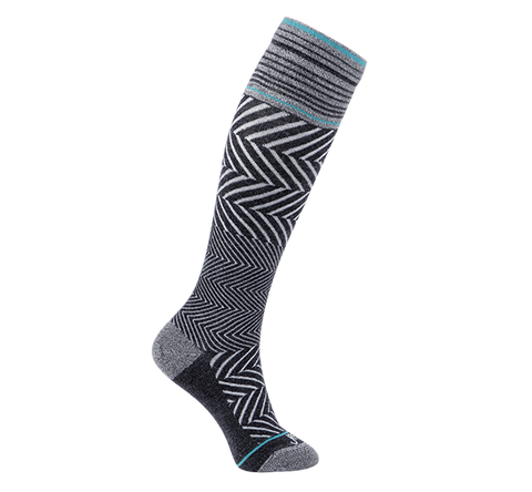 ja-vie Compression Socks Merino Medium Moderate Graduated Zig-Zag , Black (15-20mmHG)