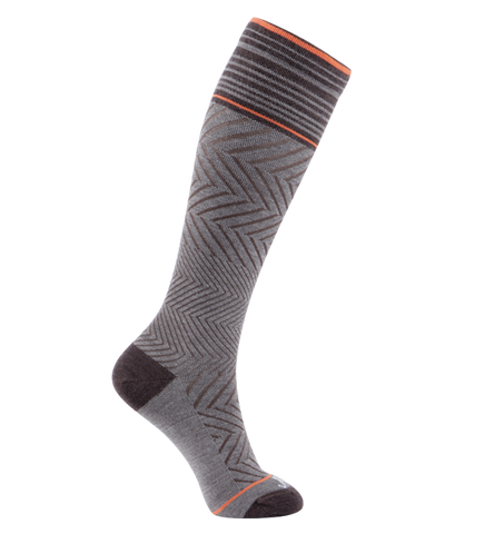 ja-vie 76% Merino Wool Graduated Compression Socks, Zig-Zag, Brown (15-20mmHg)