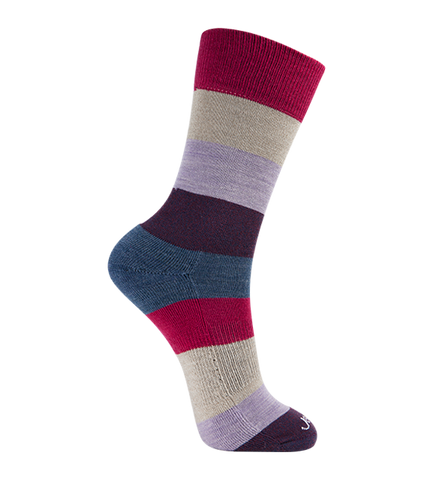 ja-vie Merino Wool Relaxed Fit Socks, Khaki Red Multi Colorblock