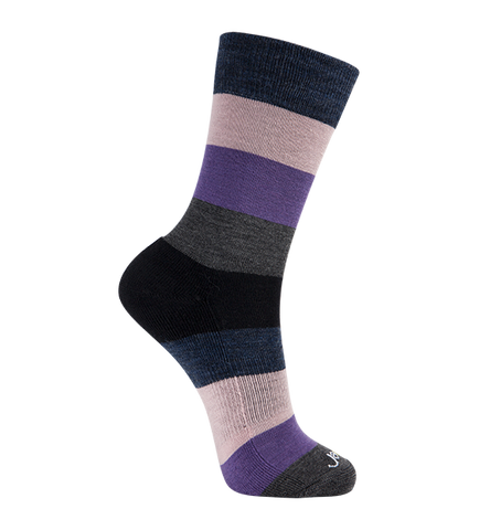 ja-vie Merino Wool Relaxed Fit Socks, Purple Pink Multi Colorblock
